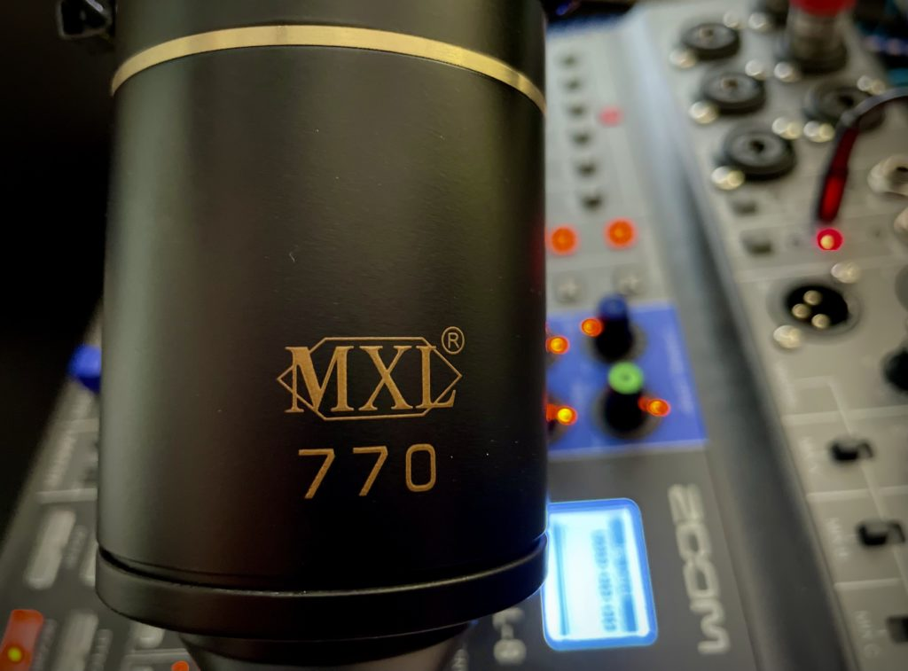 Product shot of a microphone